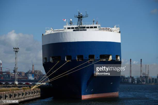 The Nippon Yusen KK Hojin vehicle carrier sits berthed at the Nagoya Port in Nagoya Japan on Tuesday July 31 2018 Japan is scheduled to release trade...