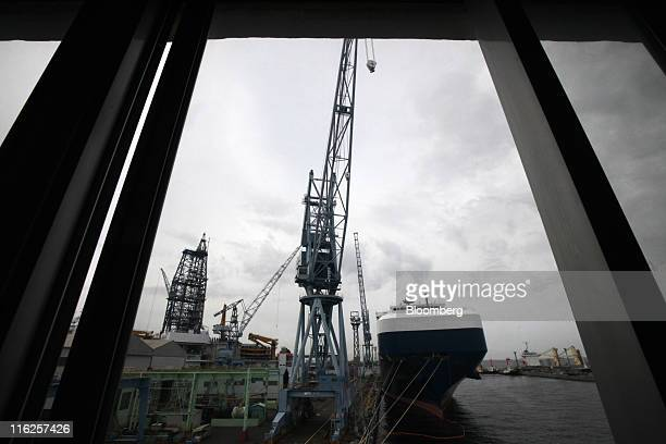 The Nippon Yusen KK's car transporter ship Auriga Leader is docked at the Mitsubishi Heavy Industries Ltd Honmoku plant in Yokohama city Kanagawa...