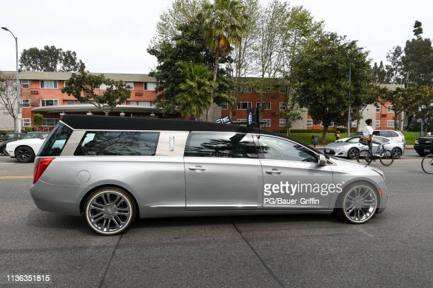 The Nipsey Hussle funeral procession is seen on April 11 2019 in Los Angeles California Nipsey Hussle was shot and killed in front of his store The...