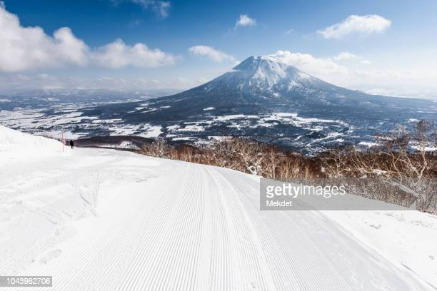 The Niseko Ski Slope with Mt Yotei in the background, Hokkaido, Japan