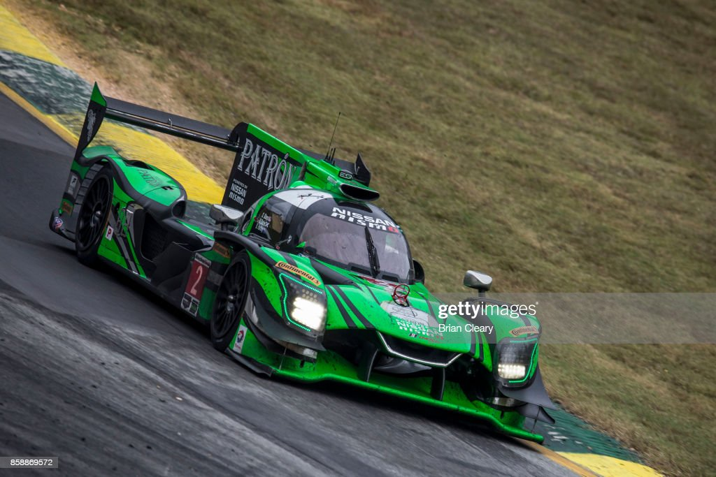 The #2 Nissan DPi of Brendan Hartley, of New Zealand, Ryan Dalziel, and Scott Sharp races on the track during the Motul Petit Le Mans at Road Atlanta on October 7, 2017 in Braselton, Georgia.