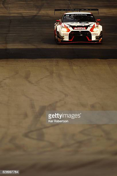 The Nissan GT Academy Team RJN of Mitsunori Takaboshi and Alex Buncombe drives during qualifying for the Blancpain GT Series Sprint Cup at Brands...