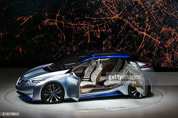 The Nissan IDS concept car is displayed at the stand of the Japanese carmaker during the press day of the Geneva Motor Show on March 2 2016 in Geneva...