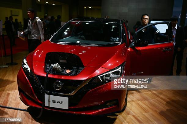 The Nissan Leaf electric car is pictured at the Tokyo Motor Show in Tokyo on October 25 2019