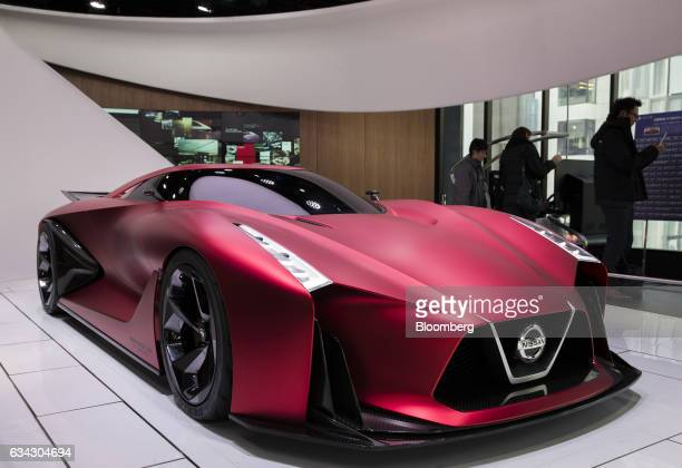 The Nissan Motor Co Concept 2020 Vision Gran Turismo concept vehicle sits displayed at the company's Nissan Crossing showroom in the Ginza district...