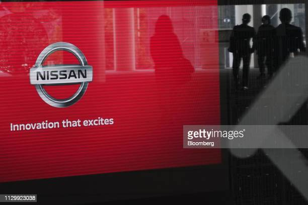 The Nissan Motor Co. Logo is displayed at the company's headquarters in Yokohama, Japan, on Tuesday, March 12, 2019. Nissan Former Chairman Carlos...