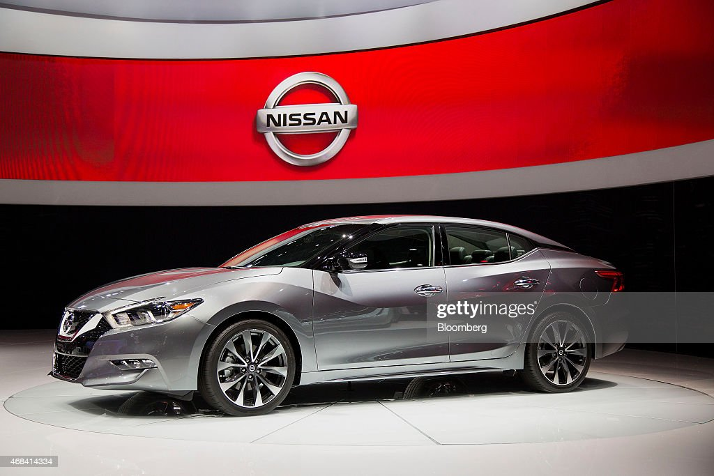 The Nissan Motor Co. Maxima Platinum vehicle is displayed during the 2015 New York International Auto Show in New York, U.S., on Thursday, April 2, 2015. Nissan Motor Co., seeking to outsell smaller Honda Motor Co. in the pivotal U.S. market, unveiled a new Maxima sedan today that may also draw customers from premium brands. Photographer: Michael Nagle/Bloomberg via Getty Images
