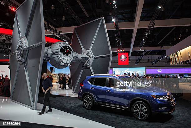 The Nissan Motor Co Rogue sports utility vehicle is displayed during Automobility LA ahead of the Los Angeles Auto Show in Los Angeles California US...