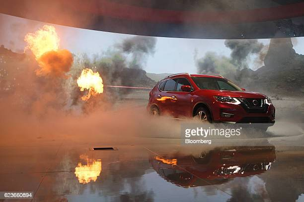 The Nissan Motor Co Rogue sports utility vehicle is unveiled during Automobility LA ahead of the Los Angeles Auto Show in Los Angeles California US...