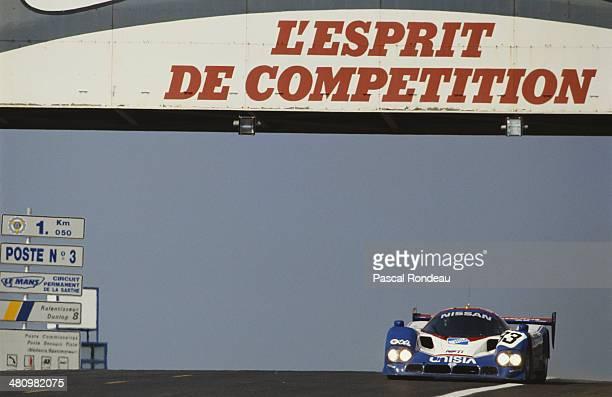 The Nissan Motorsports International Nissan R90CK driven by Geoff Brabham Chip Robinson and Derek Daly during the FIA World Sportscar Championship 24...