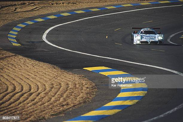 The Nissan Motorsports TWR Nissan R390 GT1 Nissan Turbo V8 driven by Jan Lammers Erik Comas and Andrea Montermini during the FIA World Sportscar...