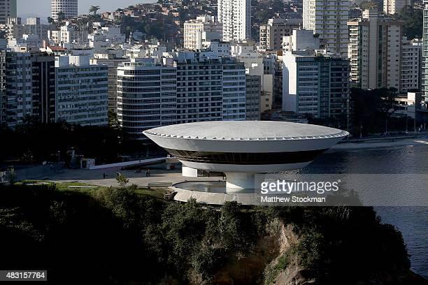 The Niteroi Contemporary Art Museum or the Museu de Arte Contemporânea de Niterói MAC designed by Brazilian architect Oscar Niemeyer is seen from the...