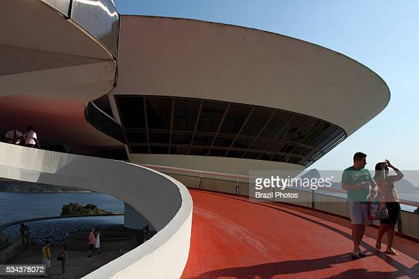 The Niteroi Contemporary Art Museum situated in the city of Niteroi at the border of Guanabara bay in front of Sugar Loaf mountain in Rio de Janeiro...