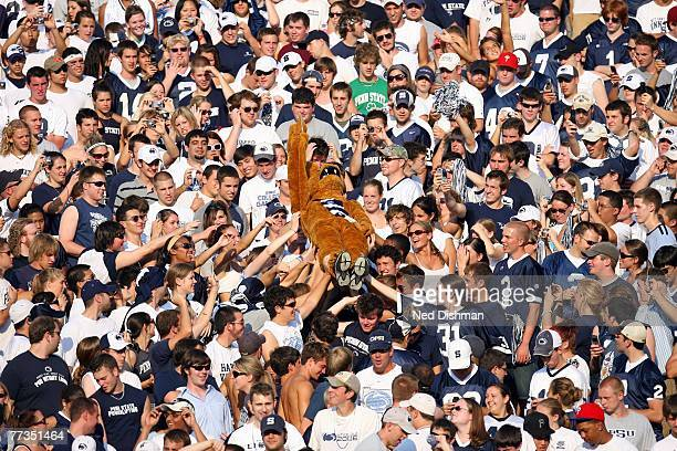 The Nittany Lion mascot of the Penn State Nittany Lions is carried in the student section against the University of Iowa Hawkeyes at Beaver Stadium...