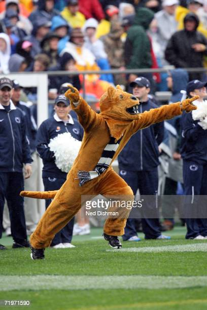 The Nittany Lion mascot of the Penn State Nittany Lions runs on the field against the University of Akron Zips at Beaver Stadium on September 2 2006...