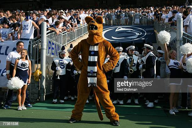 The Nittany Lion mascot of the Penn State Nittany Lions stands on the sideline against the University of Iowa Hawkeyes at Beaver Stadium on October...