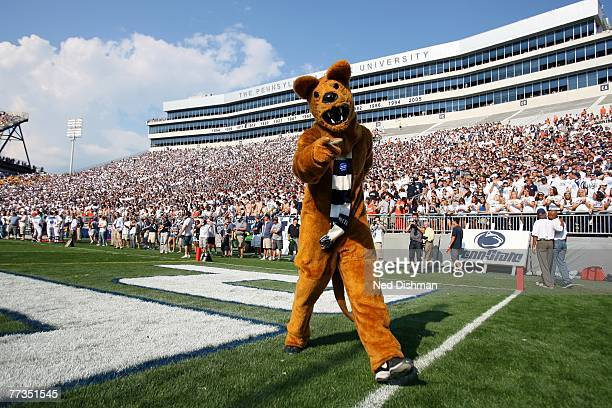 The Nittany Lion mascot of the Penn State Nittany Lions stands on the field against the University of Iowa Hawkeyes at Beaver Stadium on October 6,...