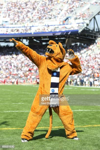 The Nittany Lion mascot of the Penn State Nittany Lions stands on the field against the University of Temple Owls at Beaver Stadium on September 20...