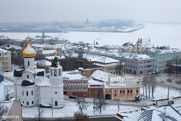The Nizhny Novgorod soccer stadium top center stands at the confluence of the Oka left and Volga right rivers during construction in Nizhny Novgorod...