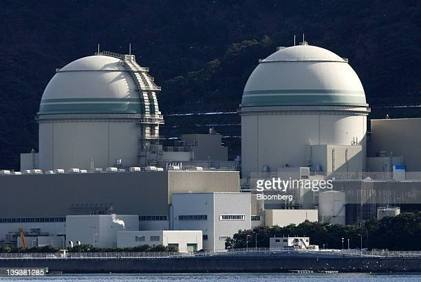 The No 3 left and No 4 reactor buildings stand at Kansai Electric Power Co's Takahama nuclear power station in Takahama Town Fukui Prefecture Japan...