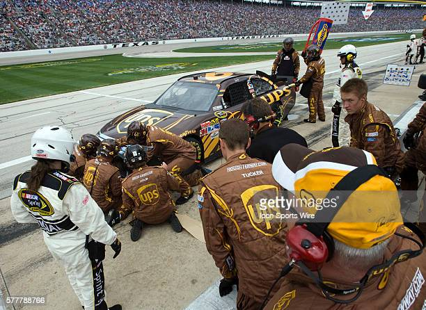 Apr 19: The No. 6 UPS Ford team makes adjustments to the car at Texas Motor Speedway during the running of the Samsung Mobile 500 race in Fort Worth,...