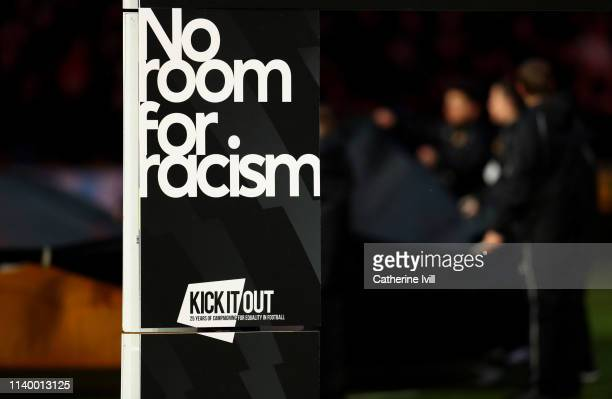 The no room for racism logo before the Premier League match between Wolverhampton Wanderers and Manchester United at Molineux on April 02 2019 in...