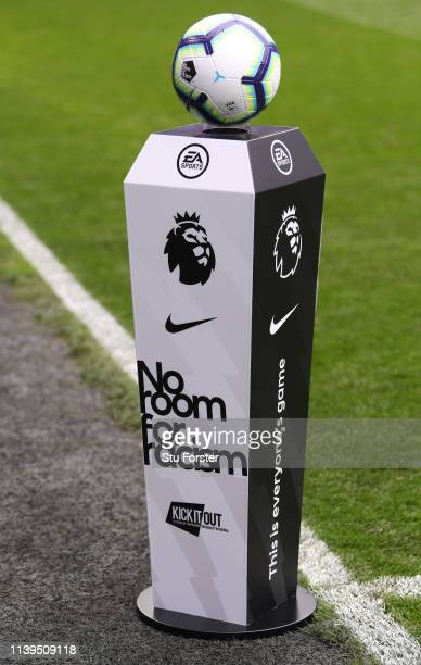 The No Room for Racism plinth with the Nike match ball before the Premier League match between Cardiff City and Chelsea FC at Cardiff City Stadium on...