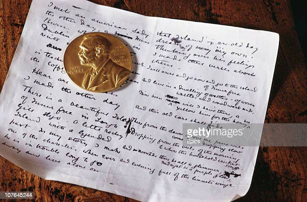 The Nobel gold medal and a manuscript belonging to Irish playwright and poet William Butler Yeats on display at the Sligo museum, County Sligo,...