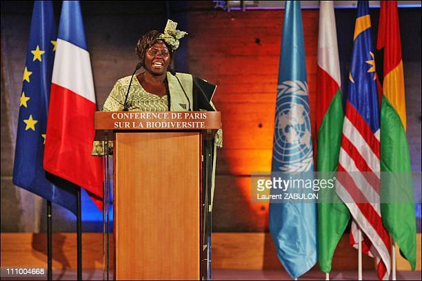 The Nobel Peace Price 2004 Wangari Maathai during the conference on biodiversity at the UN Educational Scientific and Cultural Organization...