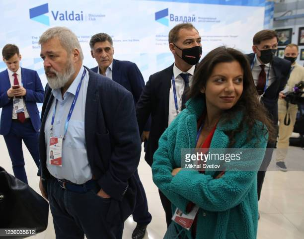 The Nobel Peace Prize 2021 winner Dmitry Muratov and RT Editor-in-Chief Margarita Simonyan seen during the Valdai Discussion Club's plenary meeting,...