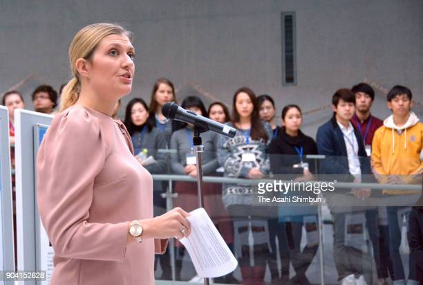 The Nobel Peace Prize laureate and Executive Director Beatrice Fihn of the International Campaign to Abolish Nuclear Weapons speaks in front of...