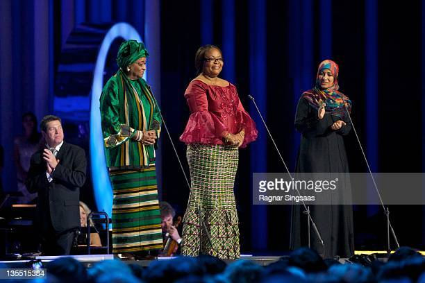 The Nobel Peace Prize laureates Ellen Johnson Sirleaf Leymah Gbowee and Tawakul Karman speak onstage during the Nobel Peace Prize Concert at Oslo...