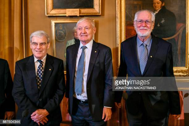 The Nobel Prize in Chemistry 2017 laureates Richard Henderson from Britain US' Joachim Frank and Jacques Dubochet from Switzerland pose during a...