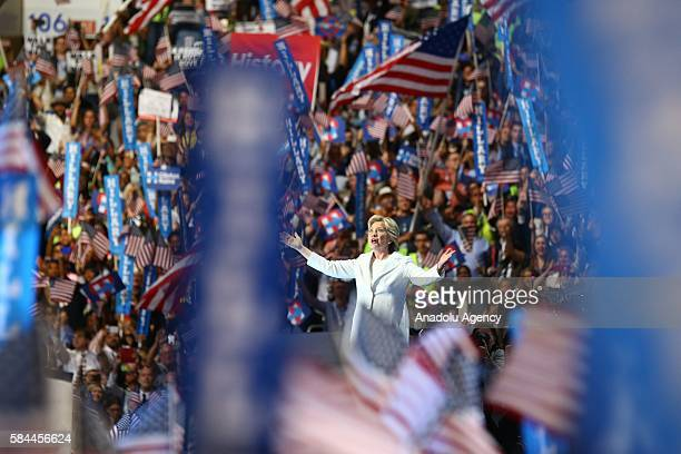 The nominee of the Democratic Party for President of the United States Hillary Clinton delivers a speech during a congress ahead of 58th Presidential...