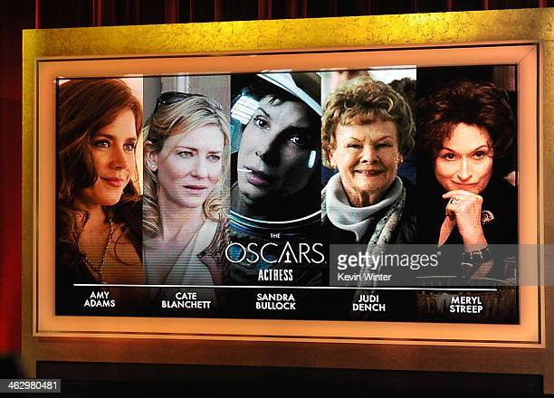 The nominees for Best Actress is displayed onstage at the 86th Academy Awards Nominations Announcement at the AMPAS Samuel Goldwyn Theater on January...