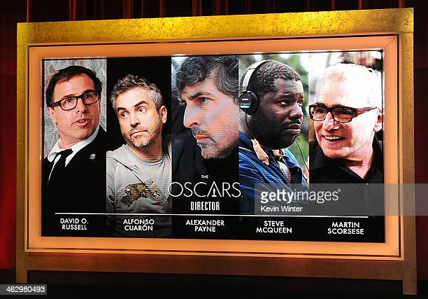 The nominees for Best Director is displayed onstage at the 86th Academy Awards Nominations Announcement at the AMPAS Samuel Goldwyn Theater on...