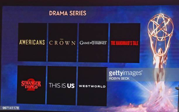 The nominees for Best Drama Series are displayed at the nominations announcement for the 70th Emmy Awards July 12 2018 at the Television Academy's...