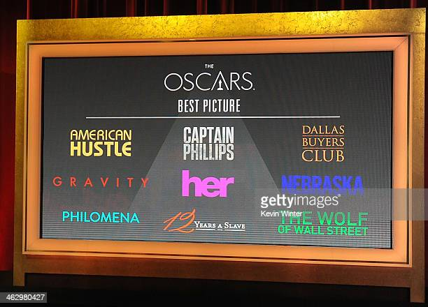 The nominees for Best Picture is displayed onstage at the 86th Academy Awards Nominations Announcement at the AMPAS Samuel Goldwyn Theater on January...