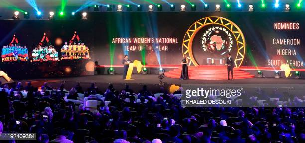 The nominees for the Womens National Team of the Year are displayed during the 2019 CAF Awards in the Egyptian resort town of Hurghada on January 7...