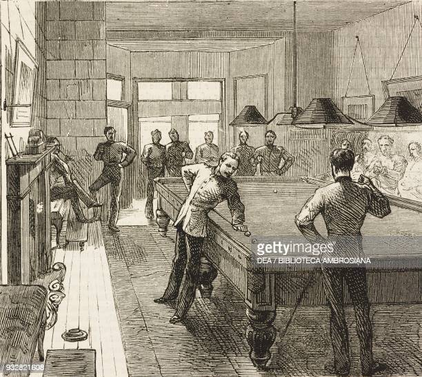 The noncommissioned officers' billiard room the Soldier's Institute Portsmouth United Kingdom illustration from the magazine The Graphic volume XVIII...