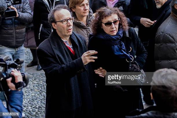 The nonreligious funeral of renowned and academic Umberto Eco takes place at Sforza Castle in Milan on 23th February In the photo Roberto Benigni...