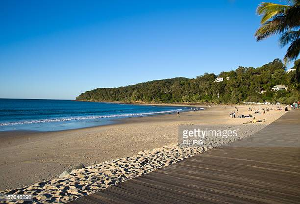the noosa main beach with the wooden boardwalk - boardwalk stock pictures, royalty-free photos & images