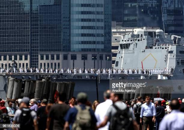 The Norfolkbased USS Arlington arrives in NY harbor as the fleet week begins on May 23 2018 in New York United States Fleet Week brings more than...