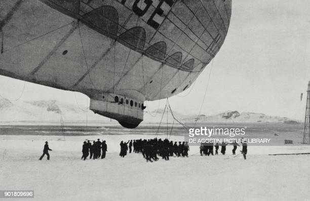 The Norge airship landing in King's bay Spitsbergen island Norway May 17 from L'Illustrazione Italiana Year LIII No 33 August 15 1926
