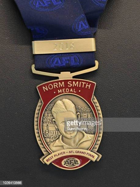 The Norm Smith Medal is on display during the 2018 Toyota AFL Finals Series Launch at Toyota CHQ Port Melbourne on September 3 2018 in Melbourne...