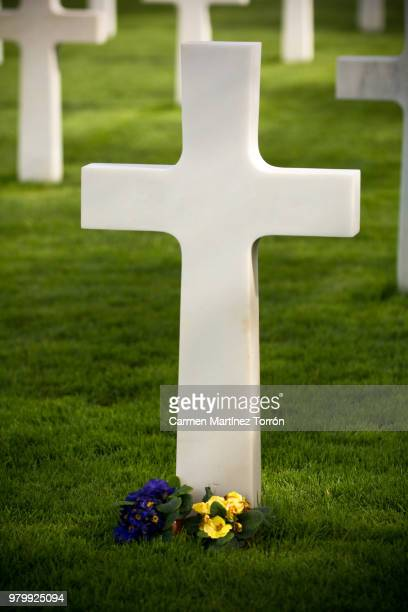 the normandy american cemetery in colleville-sur-mer - grabstein stock-fotos und bilder
