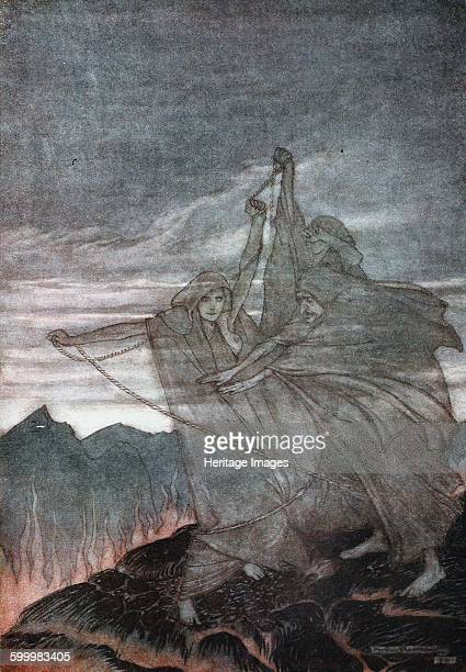 The Norns Vanish Illustration for Siegfried and The Twilight of the Gods by Richard Wagner 1910 Private Collection Artist Rackham Arthur