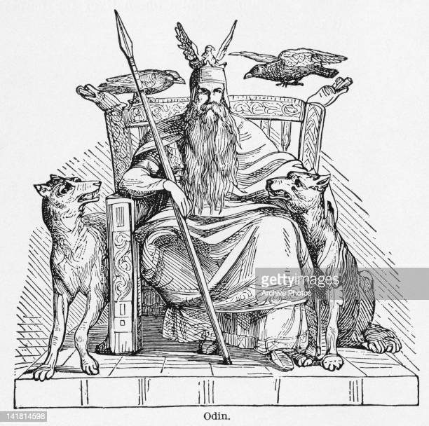 The Norse god Odin or Wotan ruler of Asgard He is holding the spear Gungnir and accompanied by the ravens Huginn and Muninn and the wolves Geri and...