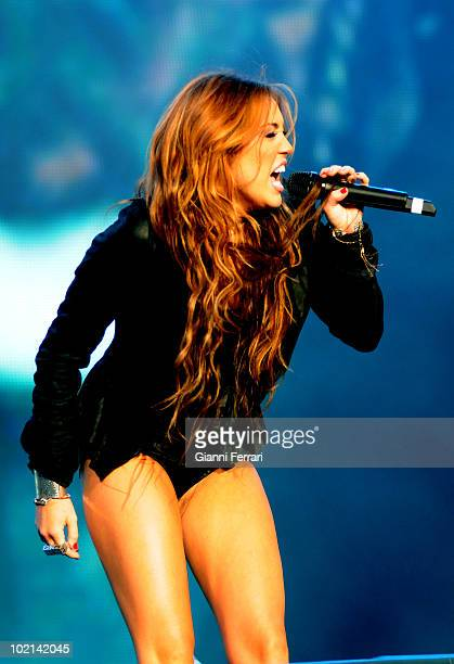 The North American singer Miley Cyrus protagonist of 'Hannah Montana' and the top Spanish singer David Bustamente during a concert in 'Rock and Rio'...