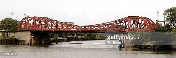 The North Avenue doubleleaf trunnion bascule bridge over the Chicago River built in 1907 is seen June 20 2006 in Chicago Illinois This 99yearold...